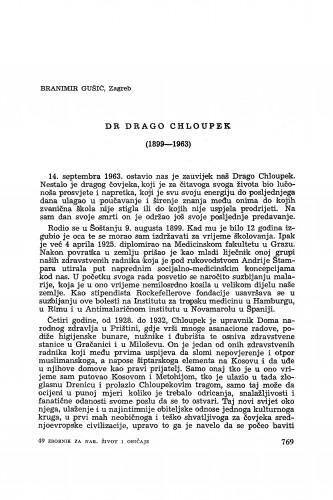 Dr Drago Chloupek (1889-1963) / B. Gušić