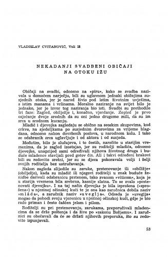 Nekadanji svadbeni običaji na otoku Ižu / V. Cvitanović