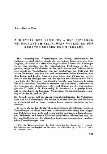 Zur Ethik der Familien- und Sippengemeinschaft im religiösen Volkslied der Kroaten, Serben und Bulgaren / J. Matl