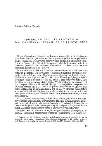 """""""Pomochnici i likovi stari"""" - dalmatinska ljekaruša iz 18. stoljeća / B. Belicza"""