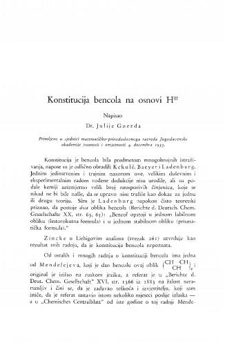 Konstitucija bencola na osnovi HIII