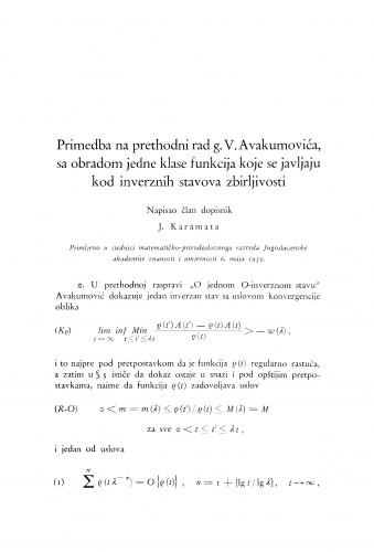 Primedba na prethodni rad g. Avakumovića sa obradom jedne klase funkcija koje se javljaju kod inverznih stavova zbirljivosti