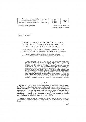 Ornitofauna starijeg holocena iz Velike pećine na Ravnoj gori (SZ Hrvatska, Jugoslavija)
