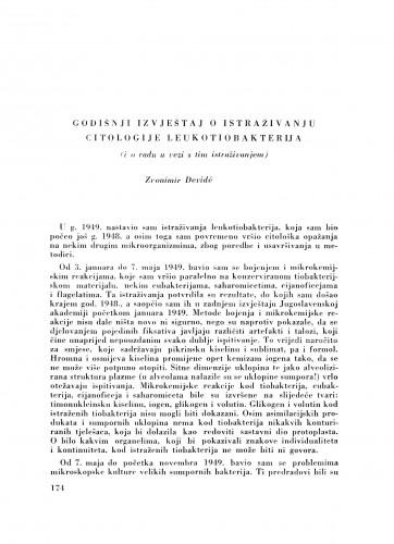 Godišnji izvještaj o istraživanju citologije leukotiobakterija / Z. Devidé