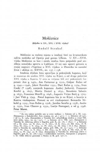 Mošćenice : (bilješke iz XV., XVI., i XVII. vijeka) / R. Strohal
