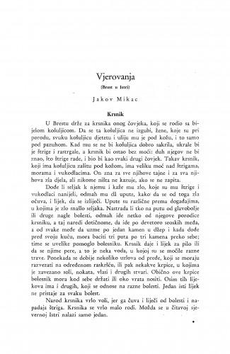 Vjerovanja : (Brest u Istri.) / J. Mikac