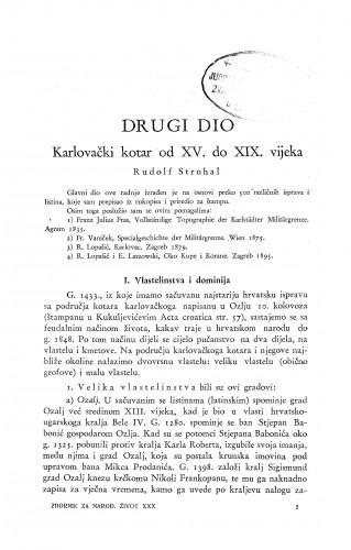 Karlovački kotar od XV. do XIX. vijeka / R. Strohal