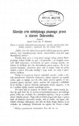 Glavnije crte obiteljskoga pisanoga prava u starom Dubrovniku : RAD