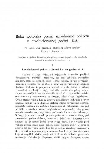 Boka Kotorska prema narodnome pokretu u revolucionarnoj godini 1848.