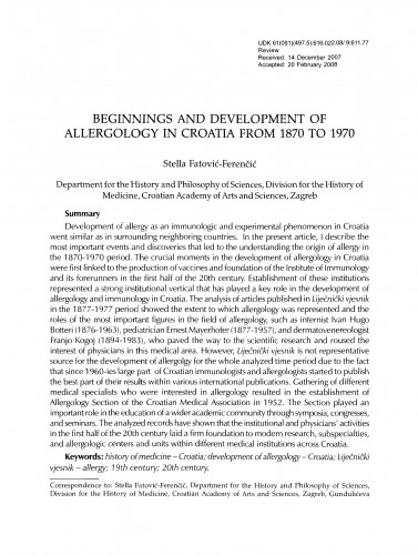 Beginnings and development of allergology in Croatia from 1870 to 1970