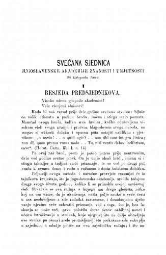 Svečana sjednica Jugoslavenske akademije znanosti i umjetnosti 28. listopada 1869. : (1. Besjeda predsjednikova; 2. Izvještaj tajnikov; 3. V. Jagić: Trubaduri i najstariji hrvatski lirici) : RAD