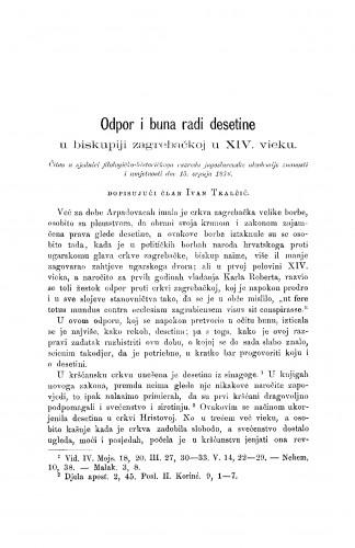 Odpor i buna radi desetine : u biskupiji zagrebačkoj u XIV. vieku : RAD