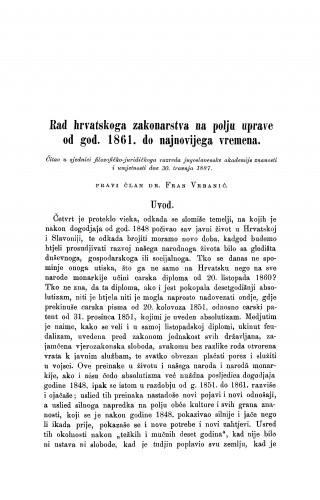 Rad hrvatskoga zakonarstva na polju uprave od god. 1861. do najnovijega vremena