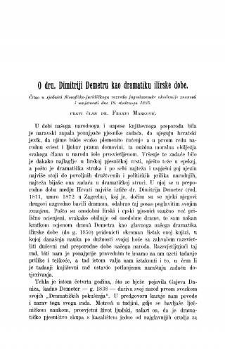 O dru. Dimitriji Demetru kao dramatiku ilirske dobe : RAD