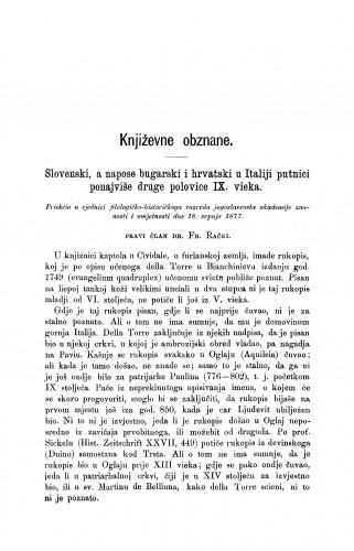 Slovenski, a napose bugarski i hrvatski u Italiji putnici ponajviše druge polovice IX. vieka : [književna obznana] : RAD