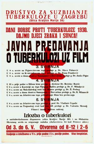 Javna predavanja o tuberkulozi uz film [od 3. do 5. svibnja 1930. godine]