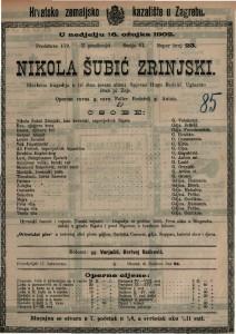 Nikola Šubić Zrinjski glazbena tragedija u tri čina (osam slika) / uglazbio Ivan pl. Zajc