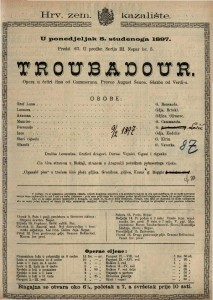 Troubadour Opera u četiri čina od Cammerana / Glazba od Verdi-a
