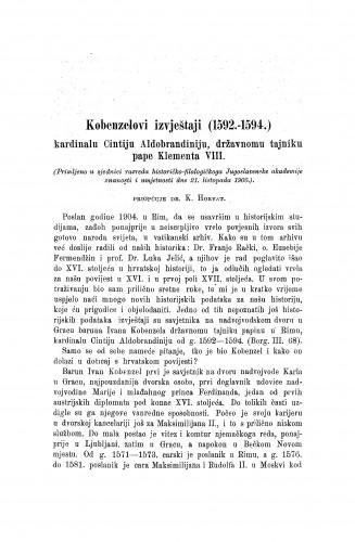 Kobenzelovi izvještaji (1592.-1594.) kardinalu Cintiju Aldobrandiniju, državnom tajniku pape Klementa VIII / Karlo Horvat