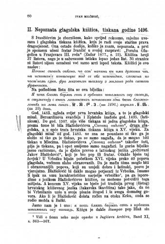 Prilozi za literaturu hrvatskih glagolskih spomenika : nepoznata glagolska kńižica tiskana godine 1496. / Ivan Milčetić