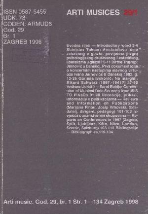 God. 29(1998), br. 1 : Arti musices
