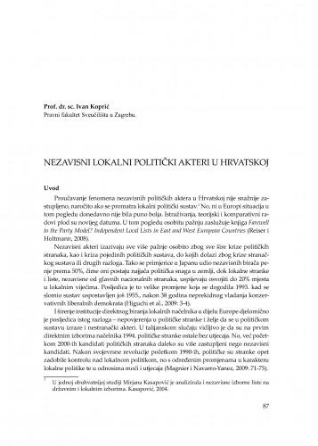 Nezavisni lokalni politički akteri u Hrvatskoj : [uvodno izlaganje] : Modernizacija prava