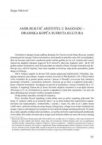 Amir Bukvić Aristotel u Bagdadu - dramska kopča susreta kultura : Krležini dani u Osijeku