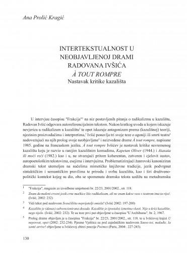 Intertekstualnost u neobjavljenoj drami Radovana Ivšića A tout rompre : nastavak kritike kazališta : Krležini dani u Osijeku
