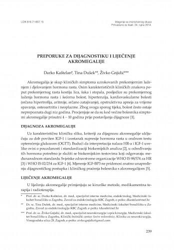 Preporuke za dijagnostiku i liječenje akromegalije