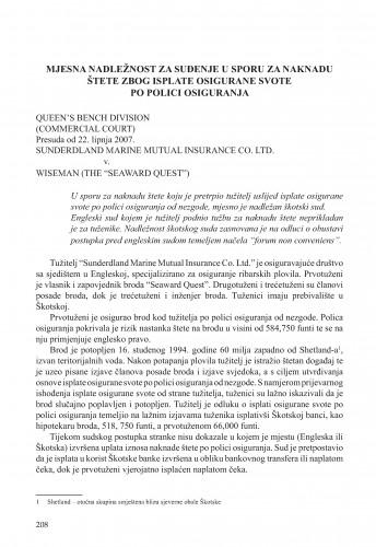 Mjesna nadležnost za suđenje u sporu za naknadu štete zbog isplate osigurane svote po polici osiguranja (Queen's Bench Division (Commercial Court), Sunderdland Marine Mutual Insurance Co. Ltd. v. Wiseman (the
