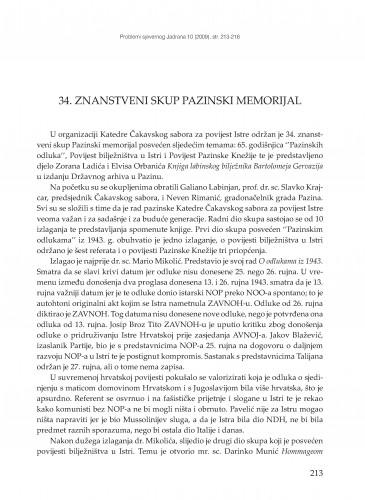 34. znanstveni skup Pazinski memorijal : [prikaz] : Problemi sjevernog Jadrana