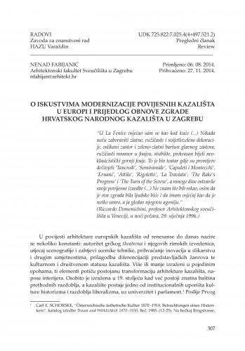 O iskustvima modernizacije povijesnih kazališta u Europi i prijedlog obnove zgrade Hrvatskog narodnog kazališta u Zagrebu : Radovi Zavoda za znanstveni rad Varaždin