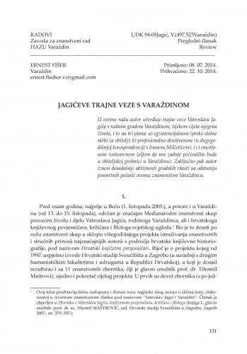 Jagićeve trajne veze s Varaždinom : Radovi Zavoda za znanstveni rad Varaždin