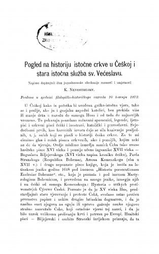 Pogled na historiju istočne crkve u češkoj i stara istočna služba sv. Većeslavu : RAD