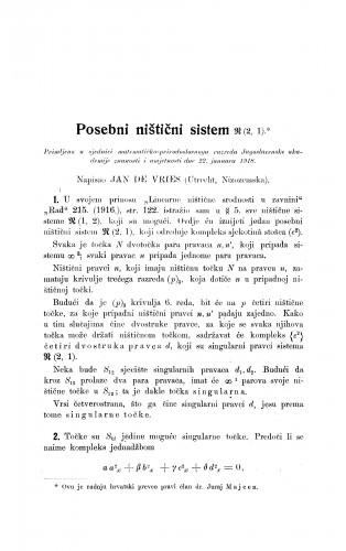 Posebni ništični sistem (2, 1)