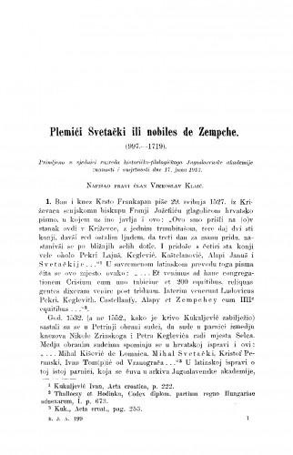 Plemići Svetački ili nobiles de Zempche