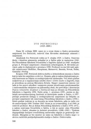Ivo Petricioli (1925.-2009.) : [nekrolog] : Ljetopis