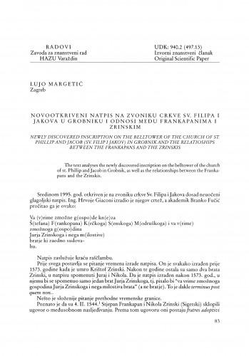 Novootkriveni natpis na zvoniku crkve Sv. Filipa i Jakova u Grobniku i odnosi među Frankapanima i Zrinskim : Radovi Zavoda za znanstveni rad Varaždin