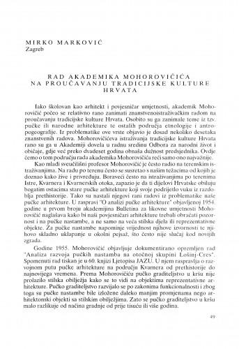 Rad akademika Mohorovičića na proučavanju tradicijske kulture Hrvata : Radovi Zavoda za znanstveni rad Varaždin