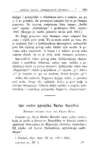 Ime sestre pjesnika Marka Marulića / F. Bulić