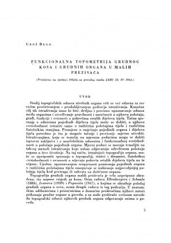 Funkcionalna topometrija grudnog koša i grudnih organa u malih preživača