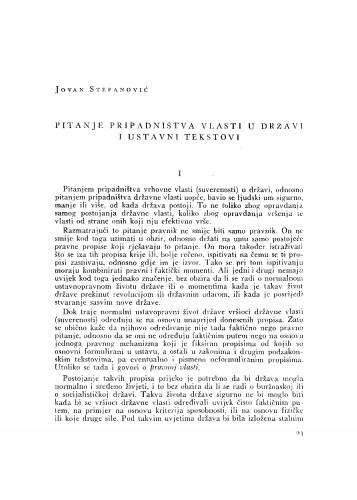 Pitanje pripadništva vlasti u državi i ustavni tekstovi