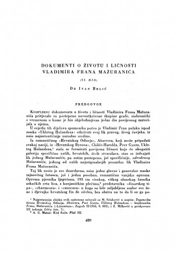 Dokumenti o životu i ličnosti Vladimira Frana Mažuranića
