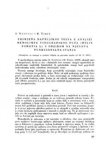 Primjena dafnijskog testa u analizi hemolimfe vinogradskog puža (Helix pomatia L.) s obzirom na njegova funkcionalna stanja