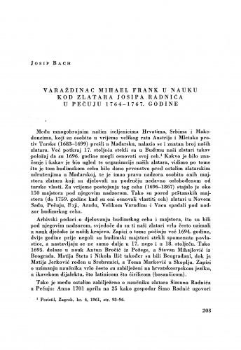 Varaždinac Mihael Frank u nauku kod zlatara Josipa Radnića u Pečuju 1764-1767. godine / Josip Bach