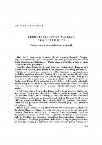 Srednjovjekovna naselja oko Dobre kuće : prilog našoj srednjovjekovnoj topografiji / Kamilo Dočkal