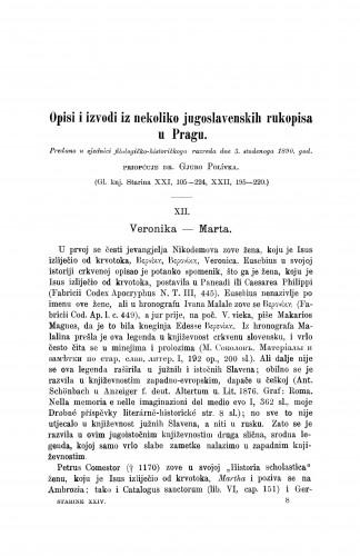 Veronika Marta : Opisi i izvodi iz nekoliko jugoslavenskih rukopisa u Pragu / Jiři Polívka