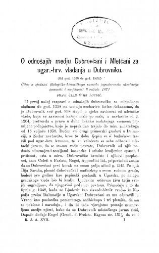 O odnošajih medju Dubrovčani i Mletčani za ugar.-hr. vladanja u Dubrovniku : (od god. 1358. do god. 1526.) : RAD