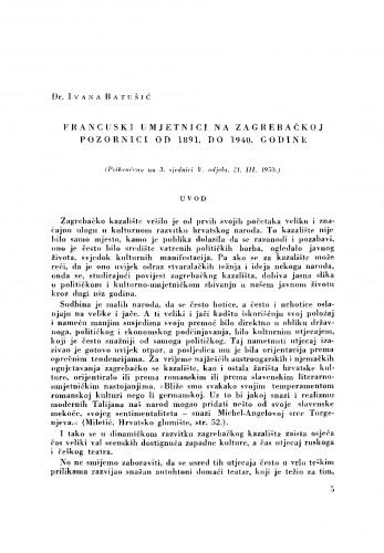 Francuski umjetnici na zagrebačkoj pozornici od 1891. do 1940. godine