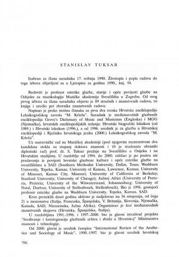 Stanislav Tuksar : Ljetopis